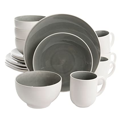 Gibson Elite Serenity 16 Piece Dinnerware Set Grey/White  sc 1 st  Amazon.com : elite dinnerware sets - pezcame.com