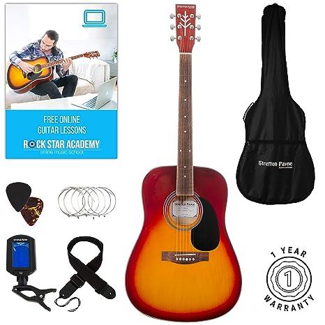 Guitarra acústica Stretton Payne Dreadnought, con cuerdas de acero de tamaño completo, D1,