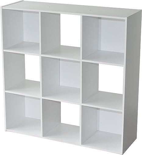 Compo Meuble De Rangement 9 Casiers Bibliotheque Etageres Cubes Blanc 92 X 29 5 X 92 Cm Amazon Fr Cuisine Maison