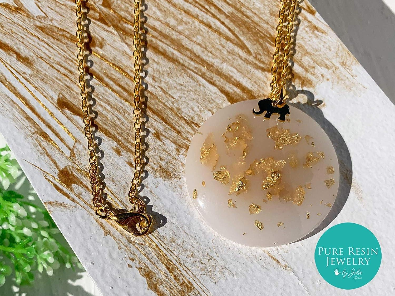 Ivory – Collar de resina blanca de pan de oro de 24 quilates con elefante y cadena chapada en oro, collar de hadas, regalo único para ella - 90LK