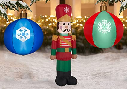 winter wonderland christmas inflatable led light up inflatables with toy soldier and 2 christmas ornaments perfect - Light Up Christmas Decorations
