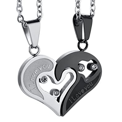 fee70148e4 Jstyle Stainless Steel Mens Womens Couple Necklace Friendship Puzzle CZ  Love Matching Heart Pendants | Amazon.com