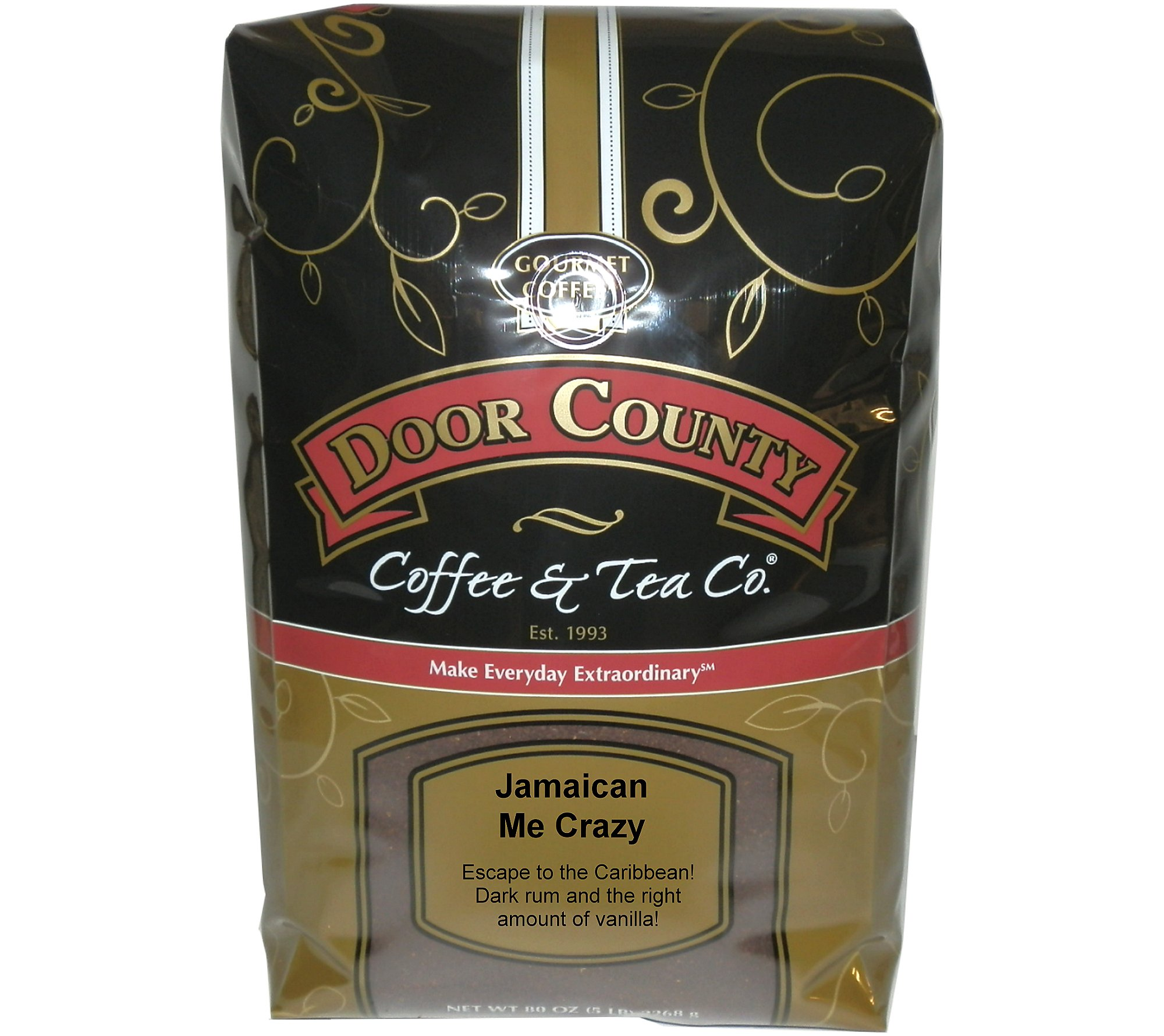 Door County Coffee & Tea Co. 5-lb. ''Jamaican Me Crazy'' Flavored Coffee Bag by Door County