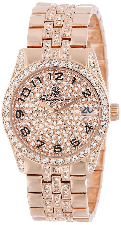Burgmeister Diamond Star - Reloj analógico de caballero de cuarzo con correa de latón rosa - sumergible a 30 metros