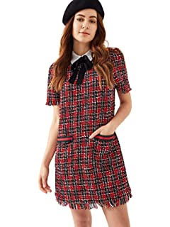 c453322f19 Floerns Women s Tie Neck Contrast Collar Plaid Tweed Tunic Dress with  Pockets