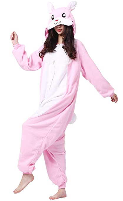 Amazon.com: Taigood Unisex Adult Animal Pajamas Plush One Piece Cosplay Pink Rabbit (148-187cm): Clothing