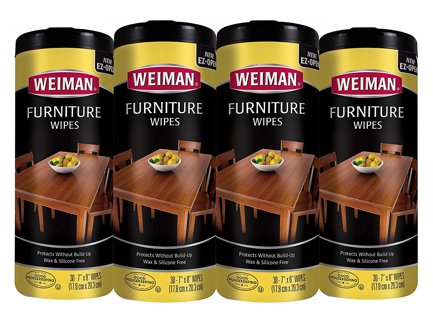 Weiman Wood Cleaner and Polish Wipes - 4 Pack (120 Wipes) - for Furniture to Beautify and Protect No Build-Up Contains Ultra Violet Protection Pleasant Scent Surface Safe - 30 Count Each