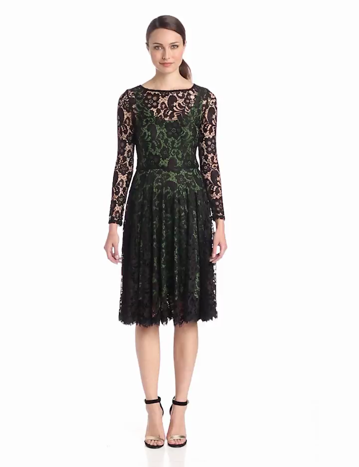 Isaac Mizrahi Womens Long Sleeve Lace Dress with Color Lining, Black/Green, 14