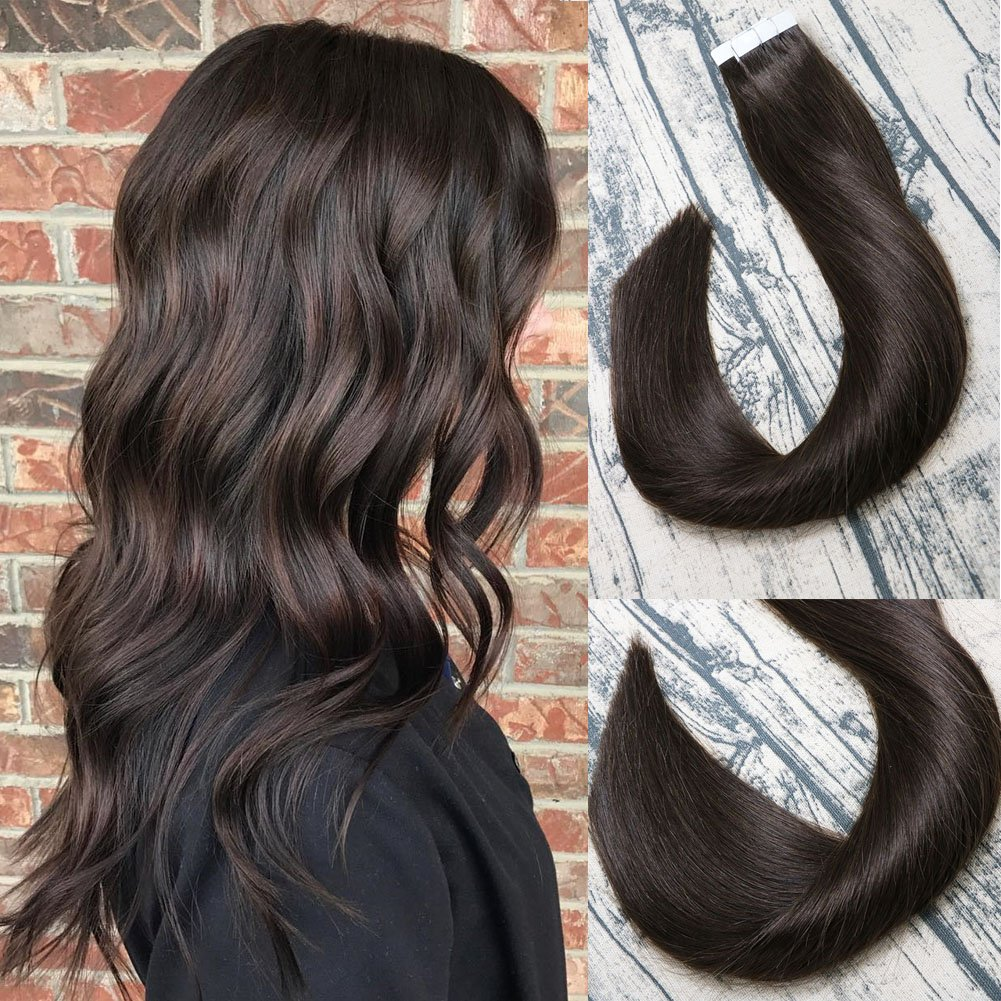 Tape In Remy Human Hair Extensions 8A 20pcs 50g Per Set #2 Dark Brown Remy Hair Extensions Seamless Skin Weft Remy Silk Straight Hair Glue in Extensions Glue in Extensions Human Hair 14 Inch