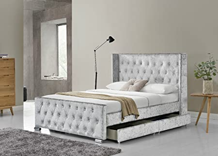 Limitless Home Luxurious Designer Elizabeth Wingback Double Bed Frame with Upholstered Silver Chesterfield Crushed Velvet Fabric & Limitless Home Luxurious Designer Elizabeth Wingback Double Bed ...