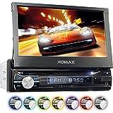 """XOMAX XM-VRSUN741BT Radio de coche / Autoradio 1DIN con Navegación GPS con Mapas de Europa (38 países) + Bluetooth Manos libres + 7 """"/ 18 cm pantalla táctil HD de resolución (800 x 480 píxeles) + 7 colores de iluminación ajustable + sin discos CD + puerto USB y Micro SD (hasta 128 GB!) + MPEG4, MP3, WMA, AVI + Conexiones para subwoofer, cámara de vista trasera y el control a distancia del volante"""