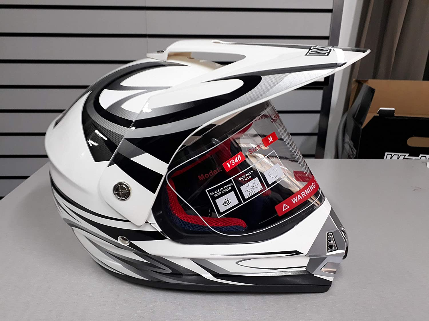 WinNet casco per moto da cross o motard con visiera bianco