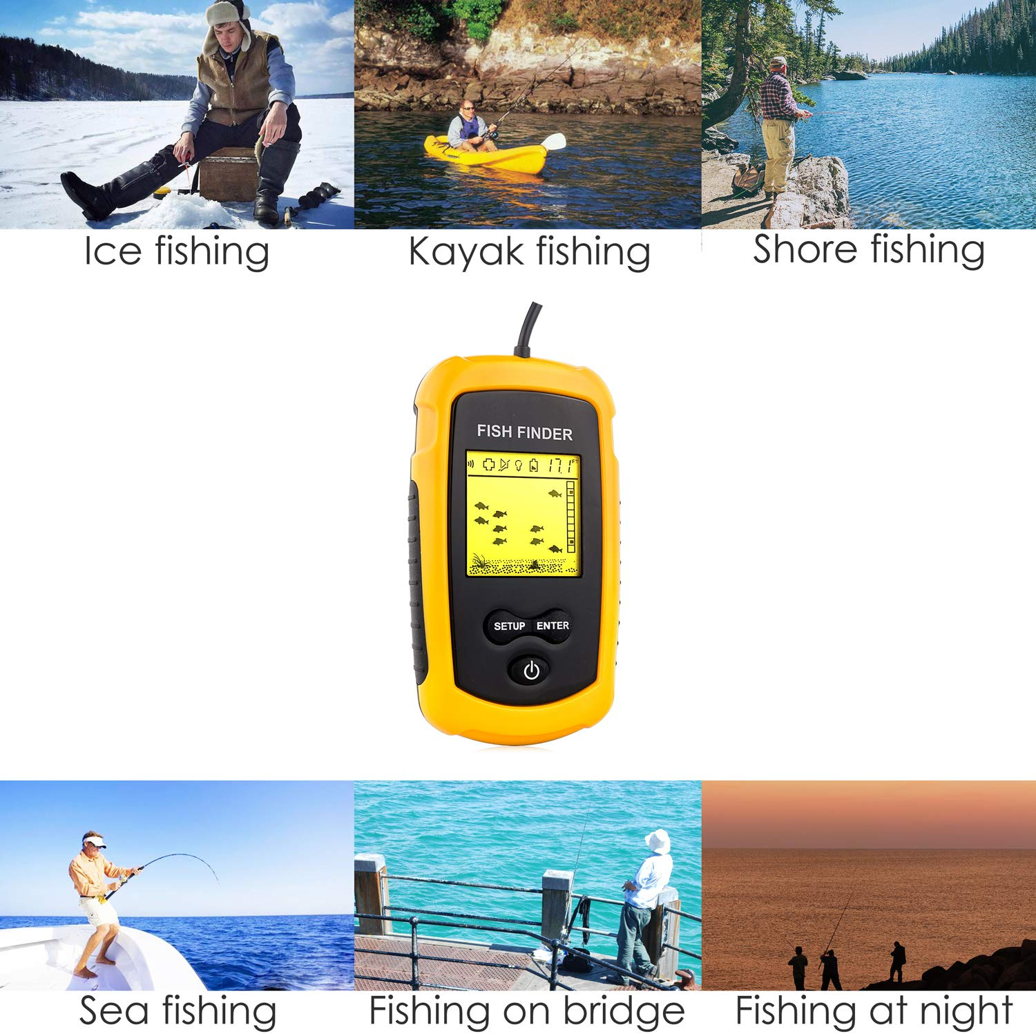 Venterior VT-FF001 Portable Fish Finder, Fishfinder with Wired Sonar Sensor Transducer and LCD Display by Venterior (Image #7)