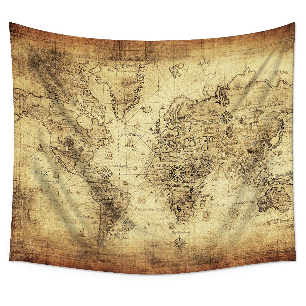 Amazon.com: Uphome Antique Map Tapestry Wall Hanging Light-weight ...