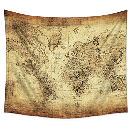 Amazon.com: Antique Map Tapestry Wall Hanging – Uphome Light-weight ...