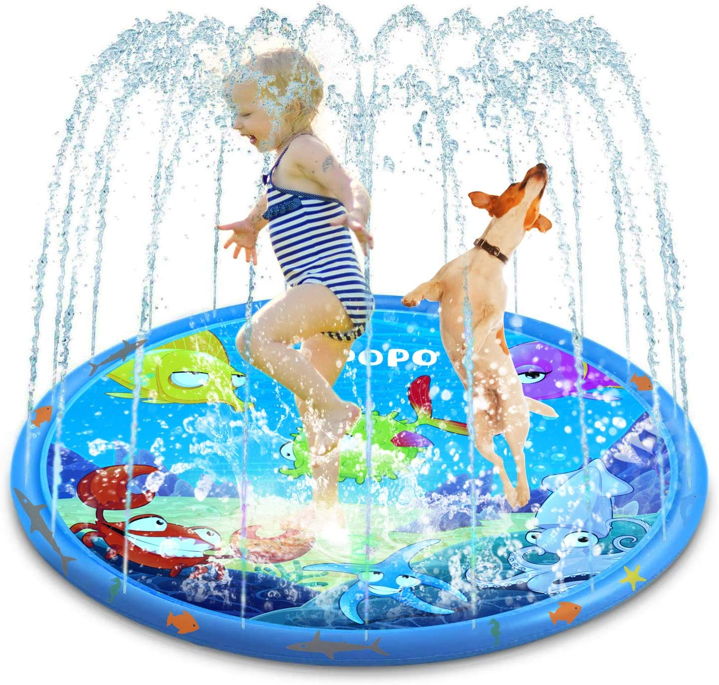 ASPPOPO Sprinklers for Kids Water Play for Kids Outside 68'' Splash Play Mat Summer Toys Water Sprinkler Toys for Kids Outdoor Backyard Toys