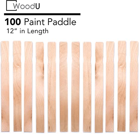 12 Paint Sticks Resin or Kids Wood Crafts Mix Epoxy Box of 50 Sanded Hardwood Paint Stirrers For Wax Garden And Library Markers,12 inch Paint Stir Paddle Sticks