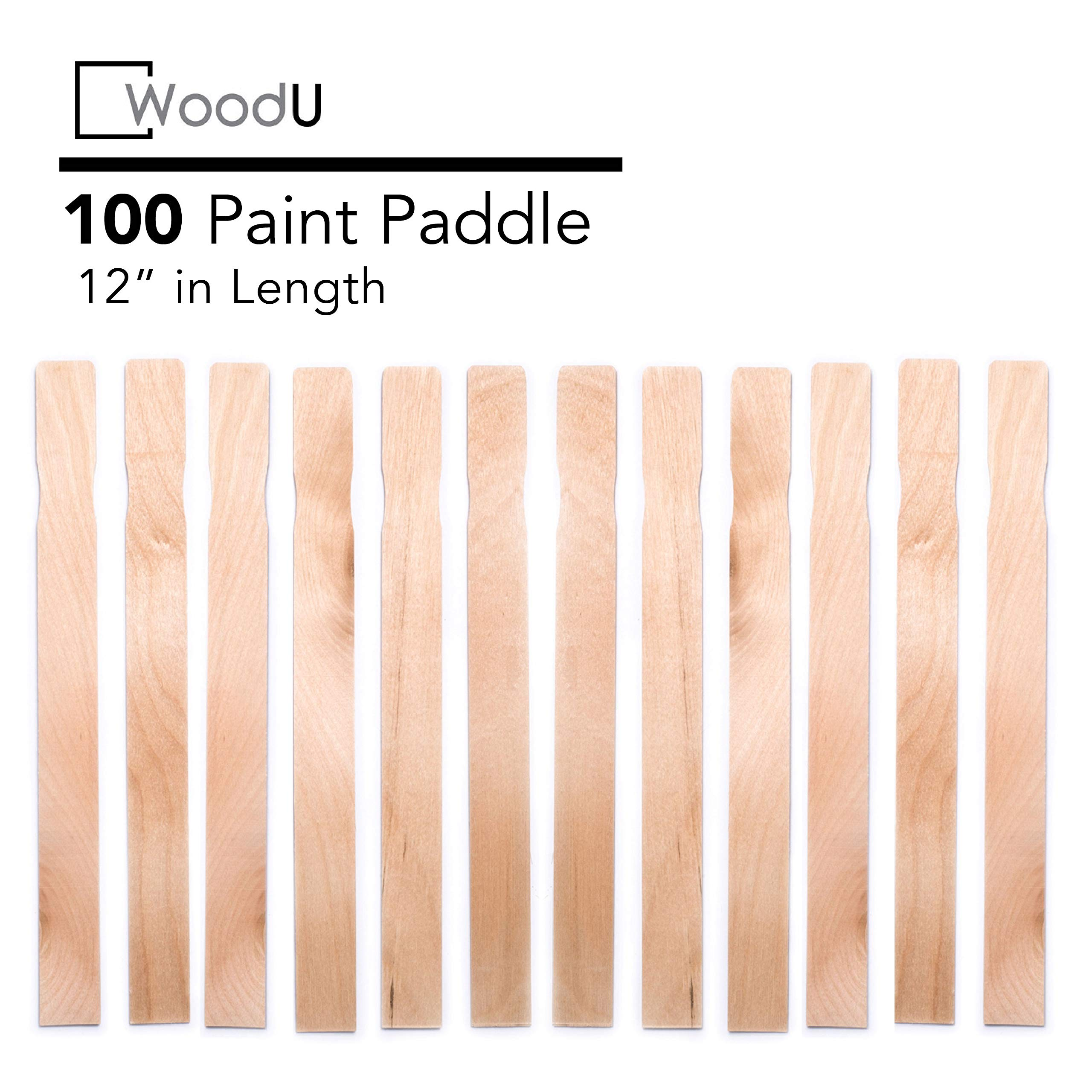 Wooden Paint Stir Sticks 12'' Bulk Pack 100pc, DIY Paint Paddles for Mixing Paint and Other Liquids by WoodU
