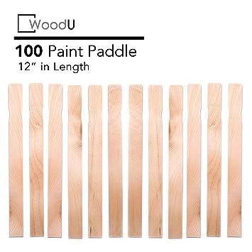 Wooden Paint Stir Sticks 12 Bulk Pack 100pc Diy Paint Paddles For Mixing Paint And Other Liquids