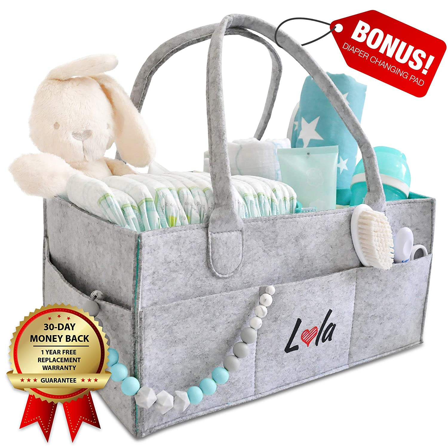 Baby Diaper Caddy Nursery Organizer - Portable Baby Essentials for Home and Car. Modular Pockets for Easy Storage and Convenience. Bonus Changing Pad - Perfect Shower Gift for Newborn by Lola Store Baby Lola Store