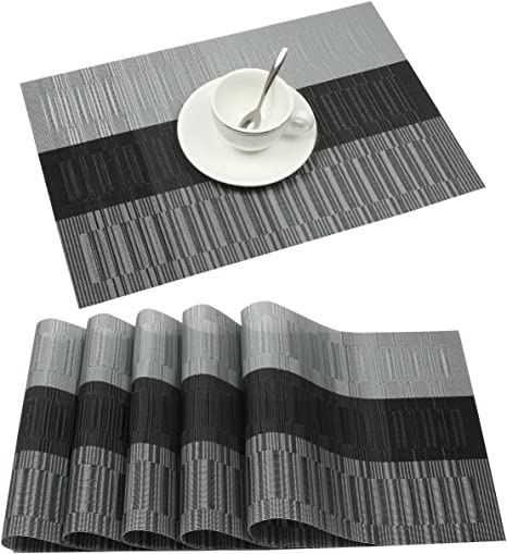 Famibay Black PVC Placemats Washable Heat Resistant Table Mats Sets 4 for Glass Table