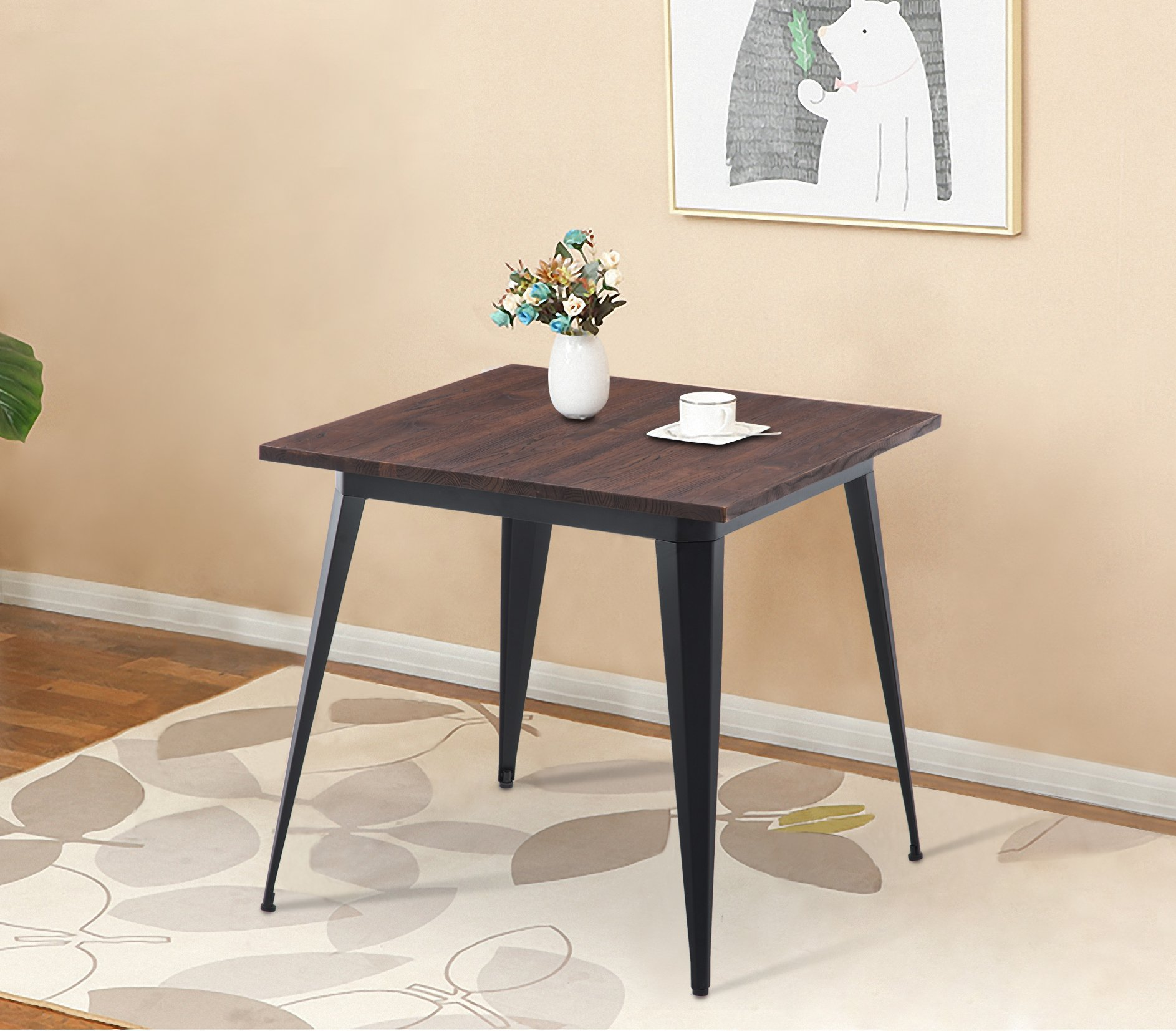 """LSSBOUGHT Wood and Metal Square Dining Table, 31.5"""" W×31.5 ..."""