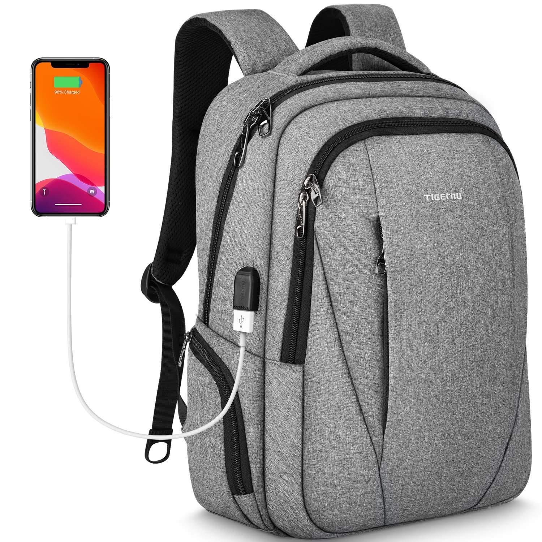 Tigernu Travel Laptop Backpack Business Slim Anti-theft Backpacks with USB Charging Port Water Resistant College School Computer Bag for Men Women Fit Under 15.6 inch Notebook Macbook,Grey