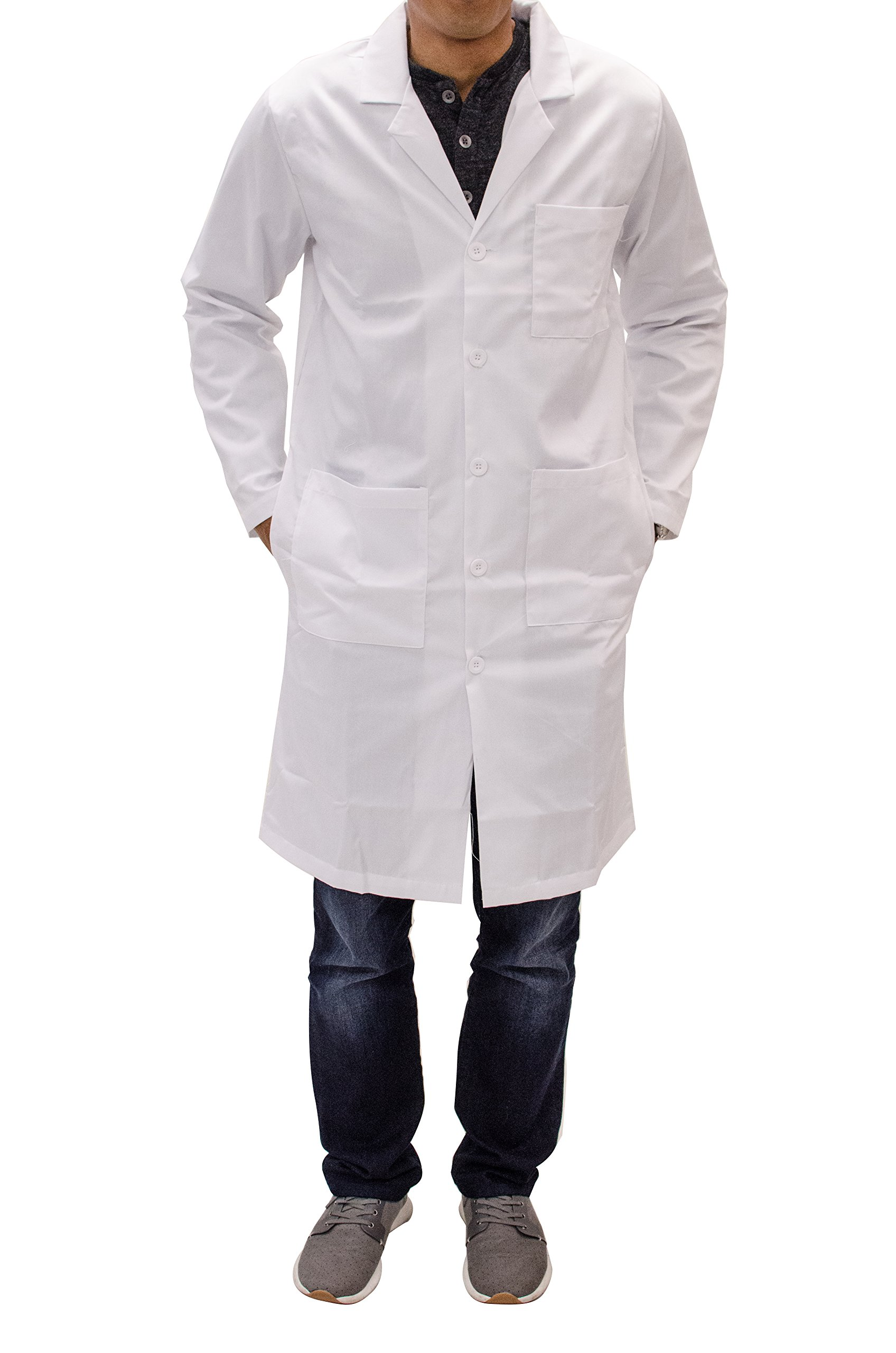 Unisex Long White Lab Coat - Chemistry, Biology, Organic Chem, Science Student Lab (S)