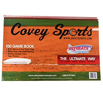 Covey Sports Baseball Softball Scorebook 100 Games Version Side By Side Scorekeeper Book