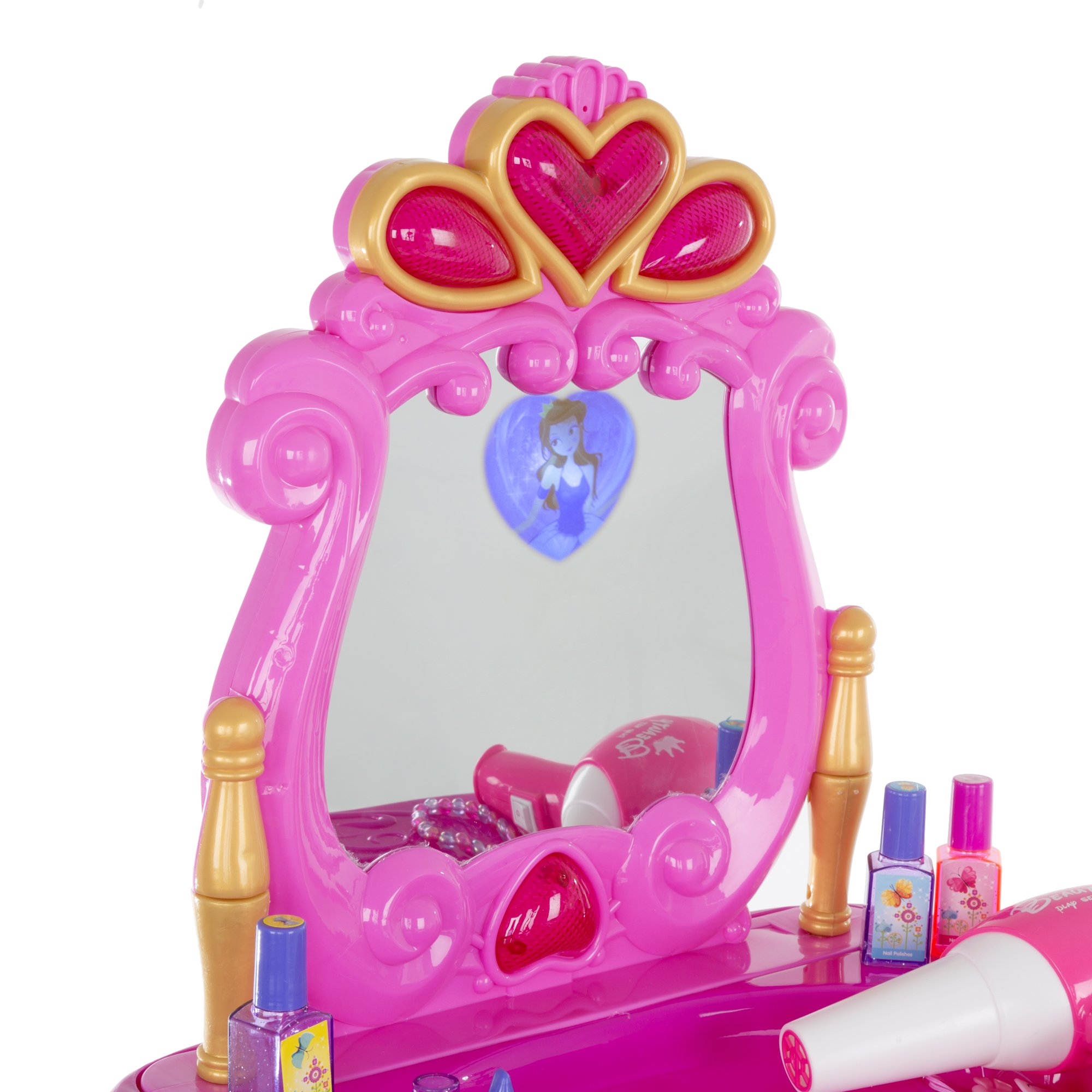 Deluxe Princess Vanity Set with Stool, Accessories, Lights, & Sound - 17 Peice Pretend Play Set! by Deluxe (Image #2)