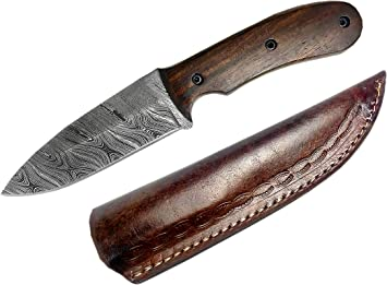 Damascus Blade Sheath Walnut Wood /& Damascus Handle Handmade Hunting Knife