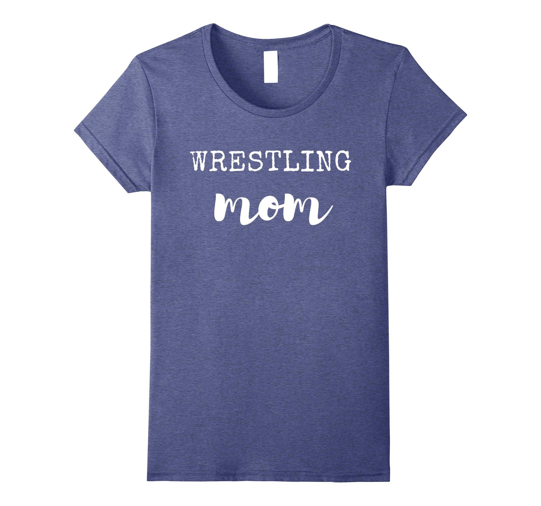 Womens Wrestling Mom T-Shirt for Women Medium Heather Blue by Wrestling Family Tees