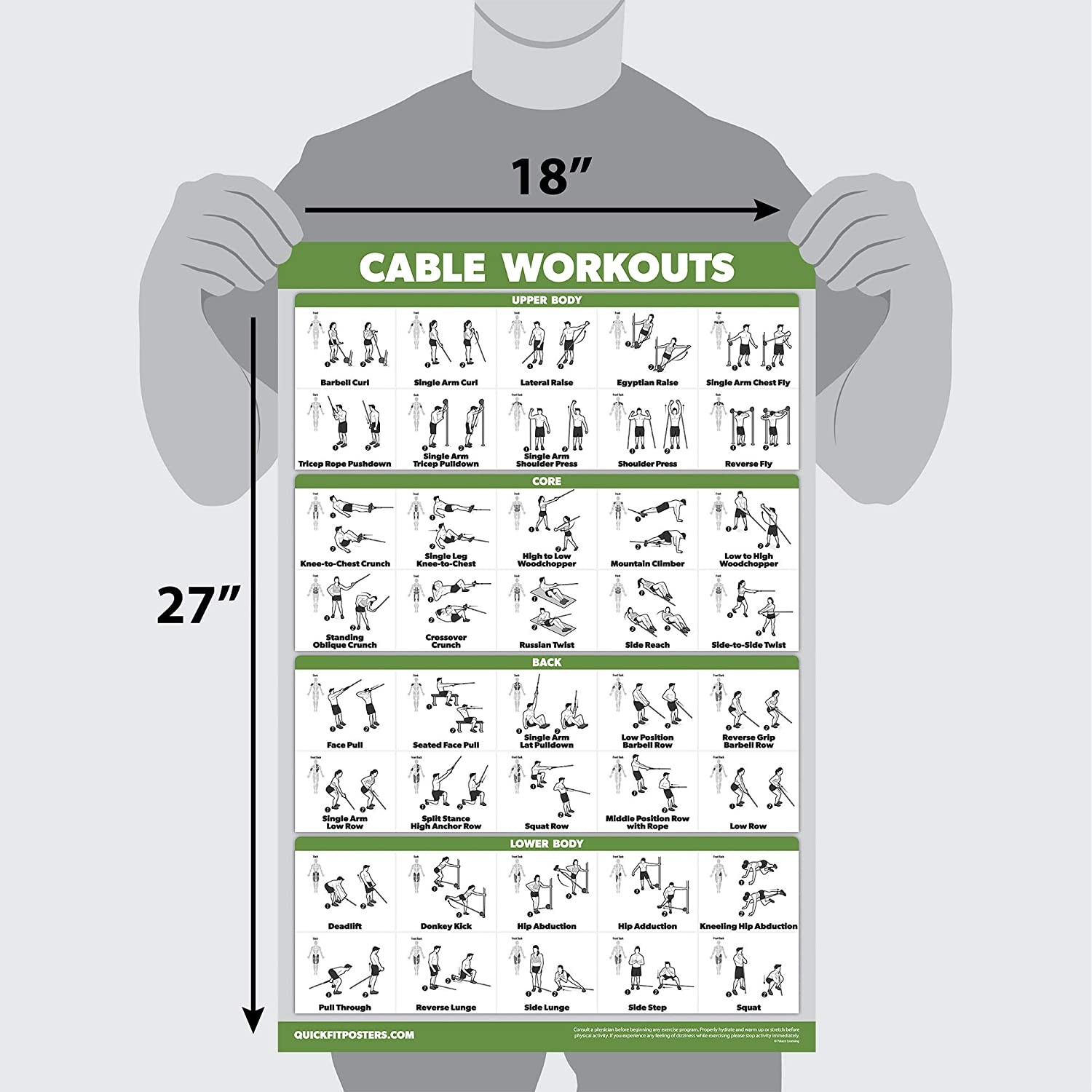 QuickFit Cable Machine Workout Poster Cable Machine /Übungsdiagramm