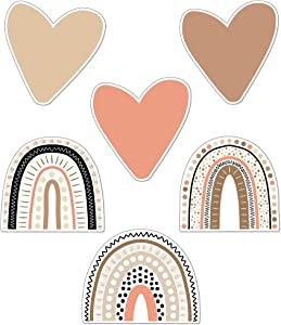 Schoolgirl Style Simply Stylish Boho Rainbows and Hearts Cutouts—Assorted Rainbows, Beige, Brown, Coral Hearts for Crafts, Bulletin Boards, Classroom or Homeschool Decor (36 pc)