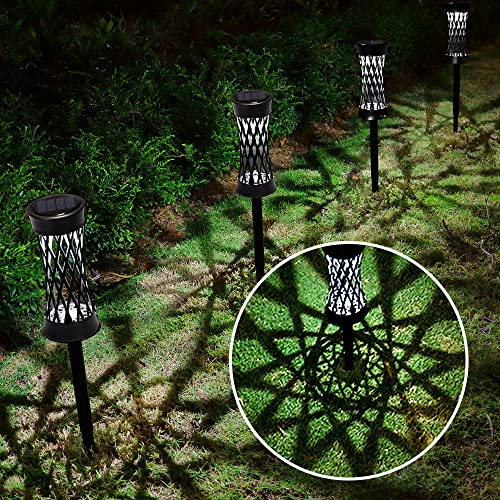 Solar Lights Outdoor Upgraded Bright Solar Pathway Lights Waterproof Auto On Off Garden Lights Wireless Sun Powered Landscape Lighting for Yard Patio Walkway Landscape Spike Path Light 6 Pack