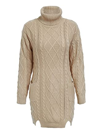 037925ecdd4c Glamaker Women's Solid Loose Fit Chunky Cable Knitted Cropped Jumper with  High Polo Neck Khaki 8