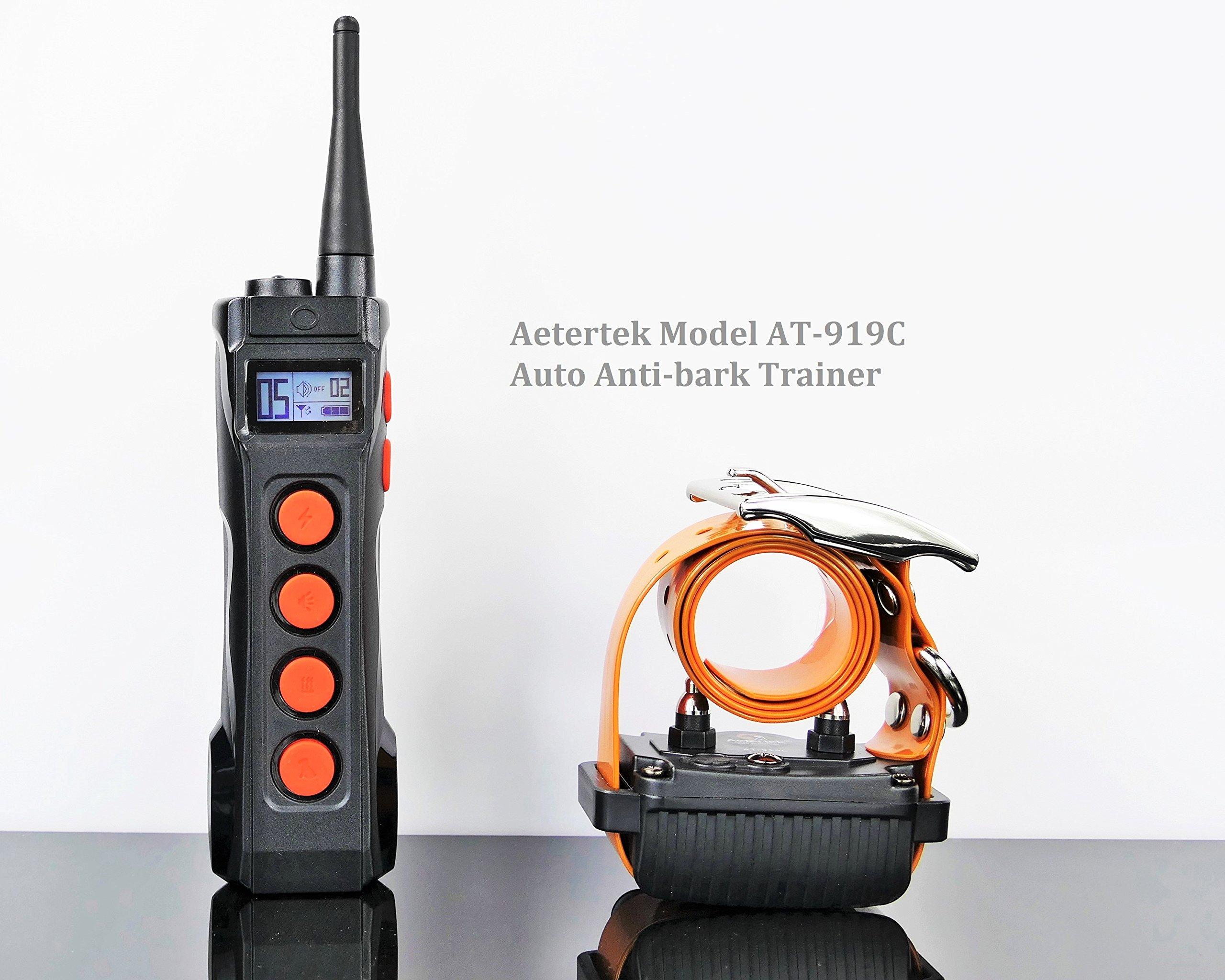 Aetertek 1100 Yard Remote Dog Training Collar Obedience Trainer: Rechargeable Waterproof Collar w/Safe Humane Tone, Vibration, Adjustable Static Shock, Auto Anti Bark by Aetertek