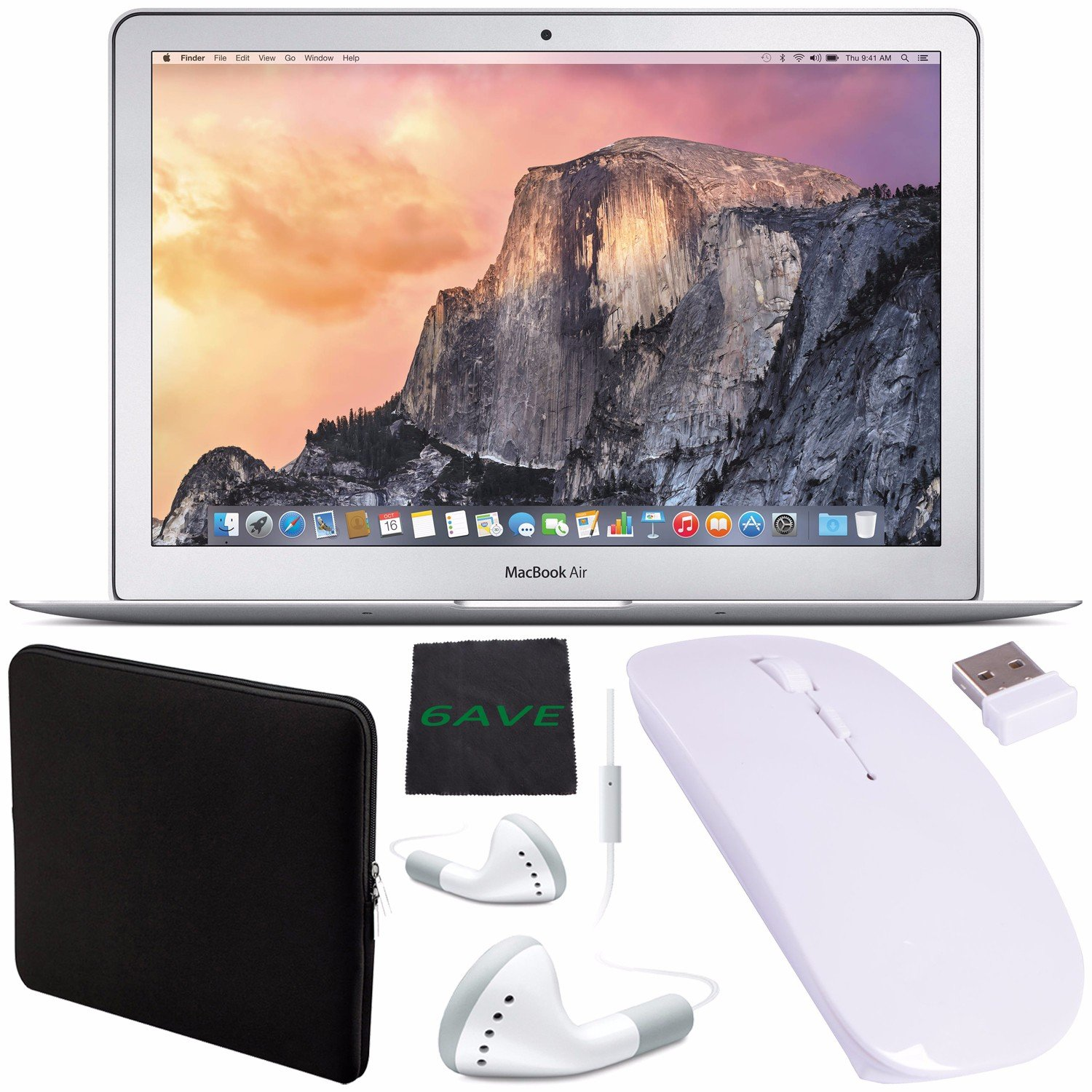 Apple 13.3'' MacBook Air Laptop Computer 256GB #MMGG2LL/A + White Wired Earbuds Headphones + Padded Case For Macbook + Fibercloth + Ultra-Slim 2.4 GHz Optical Wireless Mouse w/ USB Nano Receiver Bundle by 6Ave (Image #1)