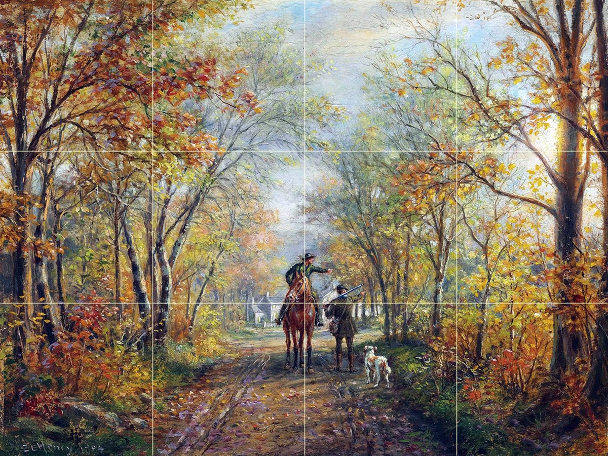Forest autumn horse people tile mural kitchen bathroom for Autumn forest mural