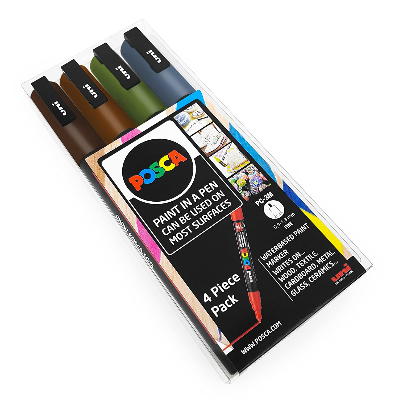 in custodia di plastica Set di 4 pennarelli PC-3M per decorazioni artistiche Uni Posca colori terra