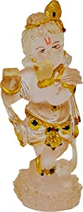 CARATCAFE Lord Krishna Idol Amber Colour Enamel Gopal Murti for Car Home Decor Temple Pooja & Indian Gifts (Translucent)