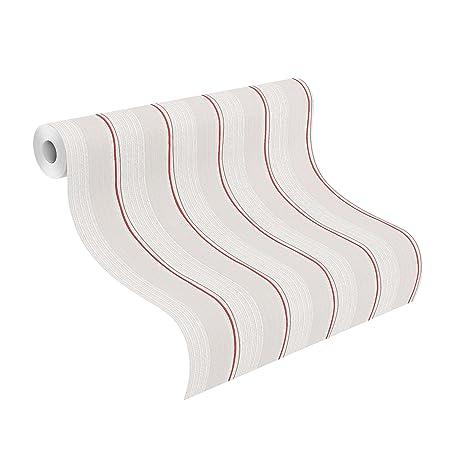 Rasch Vlies Tapete Moderne Streifen Weiß Grau Rot 448405