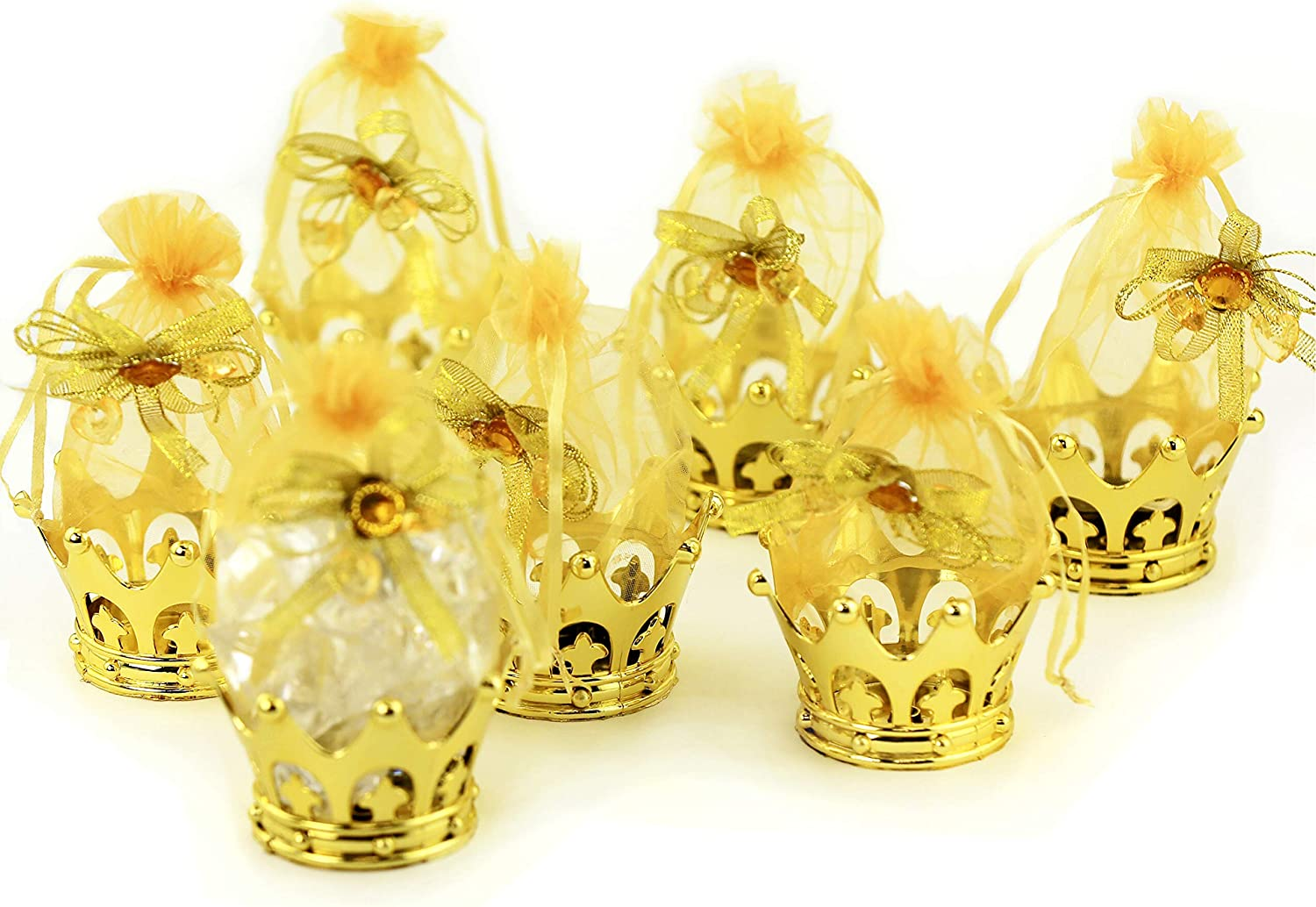 JC HUMMINGBIRD Fillable Gold Crown with Pouch Party Favors, 12 Pieces