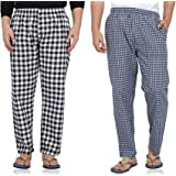 Fflirtygo Mens Pyjama Night, 100% Cotton Export Quality Fabric, (Pack of 2) Sleep Pants, Pyjama for Men, Men's Leisure Wear, Night Wear Pajama –Black and Blue Check Payjama Combo Pack
