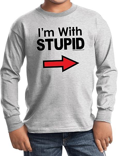 df5932c2 Amazon.com: Buy Cool Shirts Kids I'm with Stupid T-Shirt Black Print Youth  Long Sleeve: Clothing