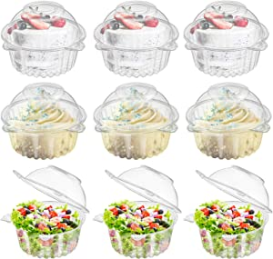 Bekith 150 Pack Individual Cupcake Holder, Thick Clear Plastic Dome Single Cupcake Carrier Muffin Container Holders Cases Boxes Cups for Sandwich, Hamburgers, Fruit, Salad, Party Favor Cake