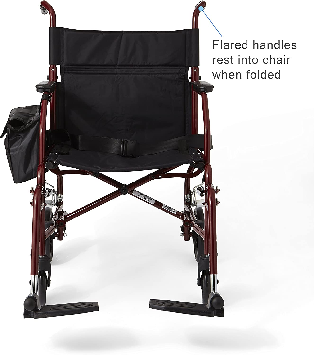 "Medline Lightweight Steel Transport Chair, 19"" Wide Seat,Desk-Length Arms, Swing Away Footrests, Burgundy Frame: Health & Personal Care"