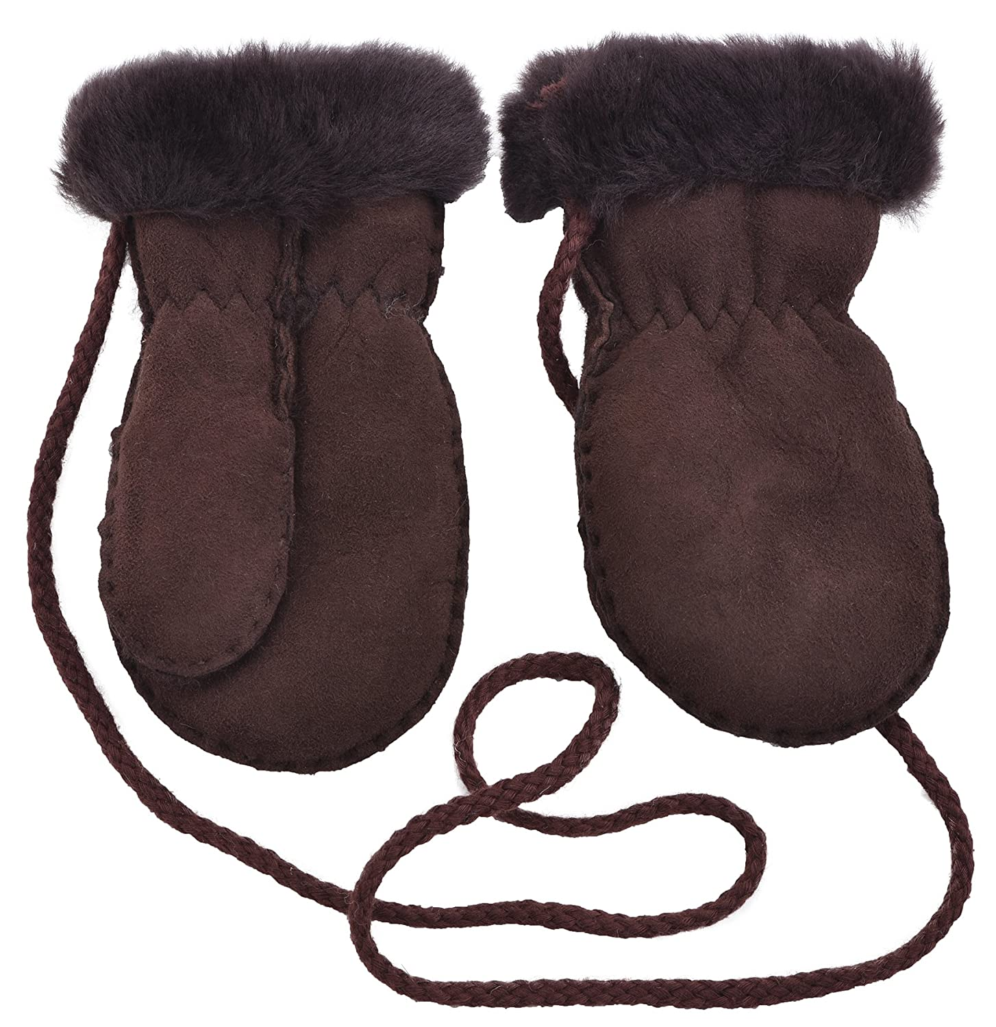 Lambland Childrens Genuine Sheepskin Lined Thumb Mittens with 'Keep Safe' Cord