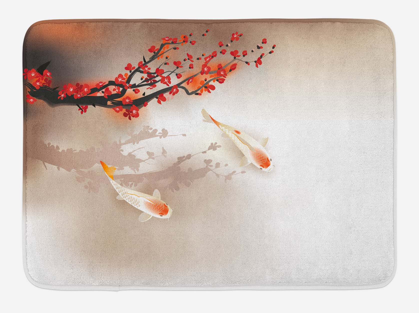 Lunarable Koi Fish Bath Mat, Sakura Branch and Leaves Sacred Animals in Small Body of Water Oriental Style, Plush Bathroom Decor Mat with Non Slip Backing, 29.5 W X 17.5 W Inches, Peach Black Red