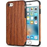TENDLIN Cover iPhone 7 Legno Ibrida Silicone TPU Flessibile Custodia, Legno di Sandalo Rosso